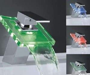 Waterfall led sink faucet