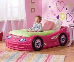 pink car toddler bed