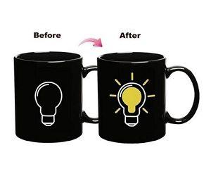 light bulb heat changing mug