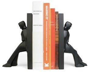 leaning men bookends