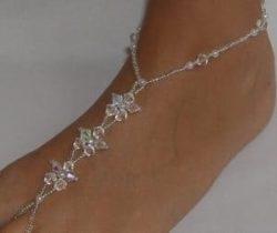 crystal flower foot jewelry