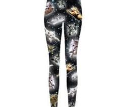 flying space cat leggings