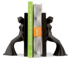 leaning lady bookends