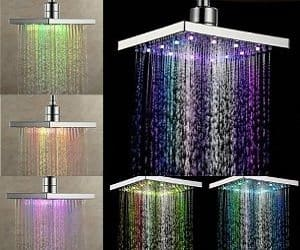 Multi-Color LED Rainfall Shower Head