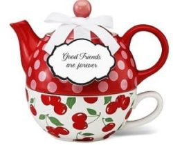cherry teapot for one set