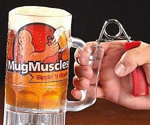 arm workout beer mug