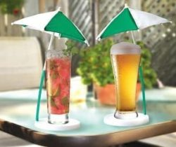 cocktail umbrella and coaster