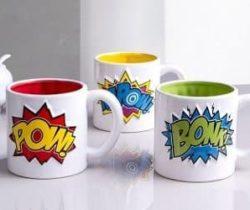 comic book style mugs