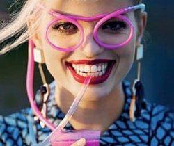 drinking straw eyeglasses