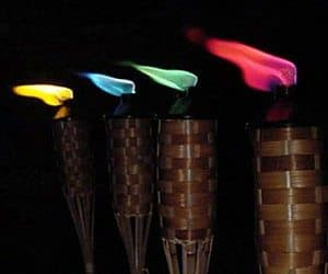 colored tiki torch flames