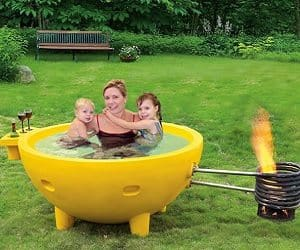 fire burning hot tub