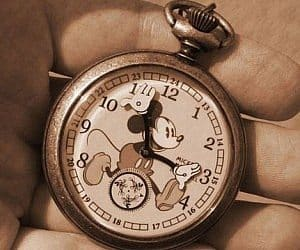 mickey mouse gold pocket watch