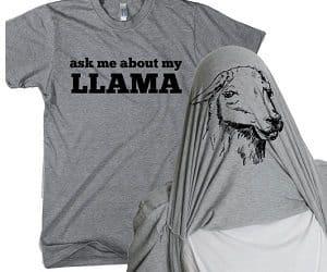 llama flip up t-shirt