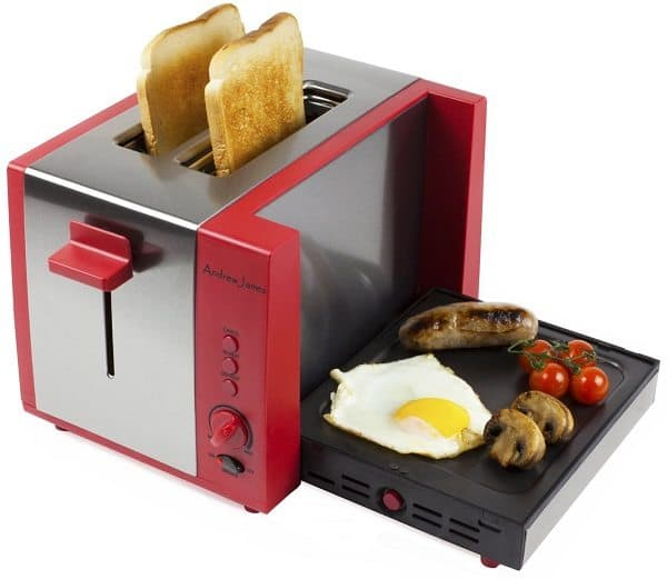 Toaster with Fold Down Cooking Grill