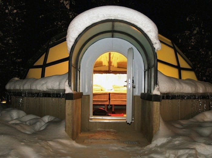 glass igloos entrance