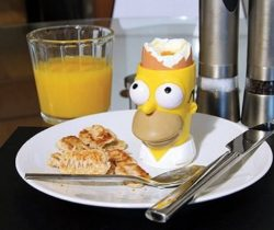 homer simpson egg cup and toast stamp
