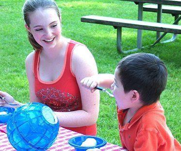 ice cream ball maker eating