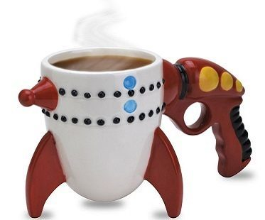 ray gun rocket mug white