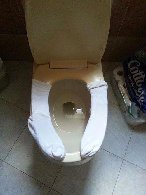 socks on toilet seat
