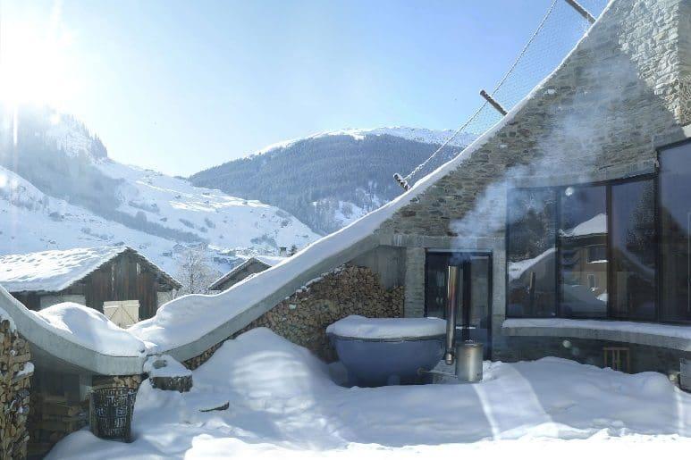 villa vals snow scene