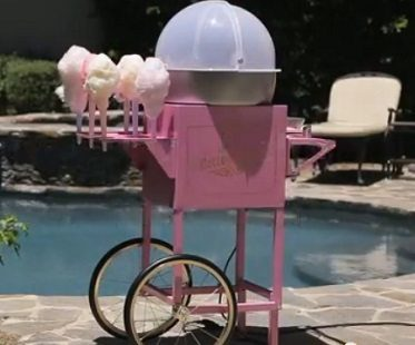 vintage cotton candy cart outside
