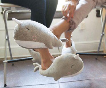 whale heated slippers girls