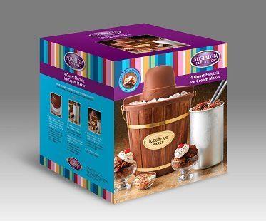wooden bucket ice cream maker packaging
