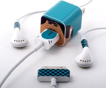 Character iPhone Cable Stickers blue