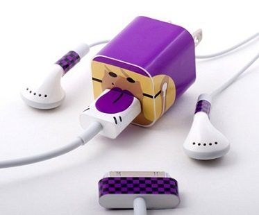 Character iPhone Cable Stickers purple