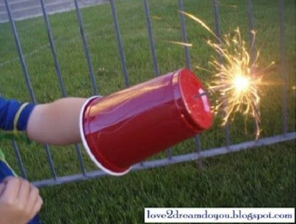 Plastic cup sparkler protector