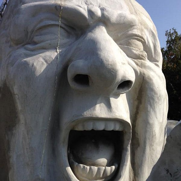 Popped Up sculpture face