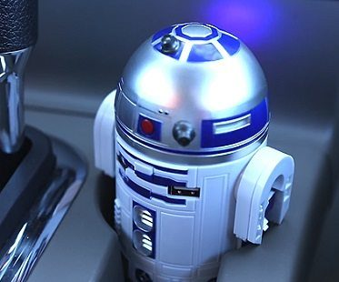 R2-D2 USB car charger close up