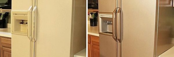apply stainles steel paint to your fridge