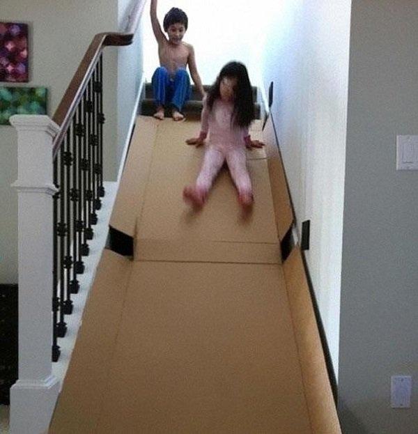 cardboard stairs slide