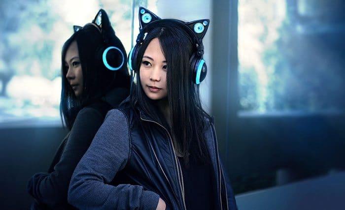 cat earphones blue