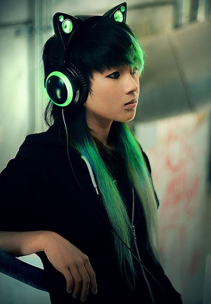 cat earphones green