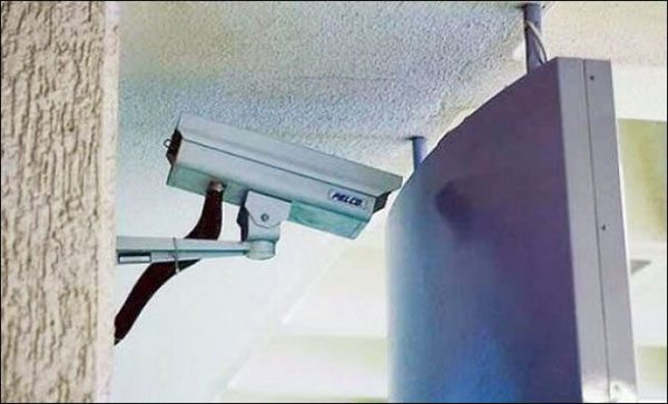 security camera blocked by tv screen