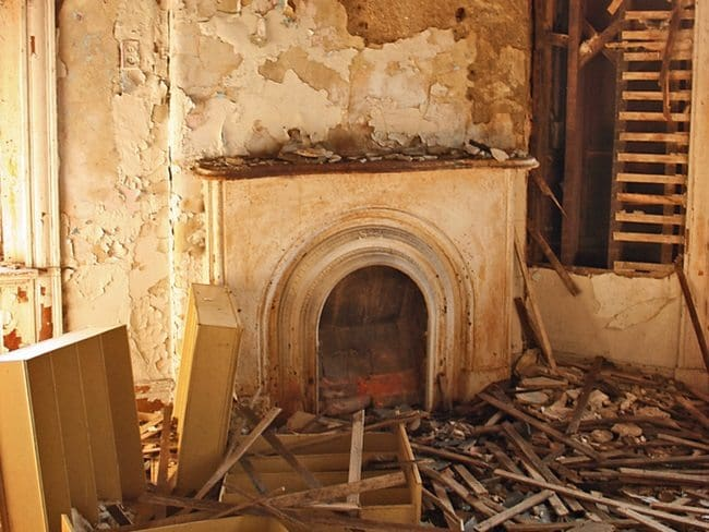 creepy mansion fireplace