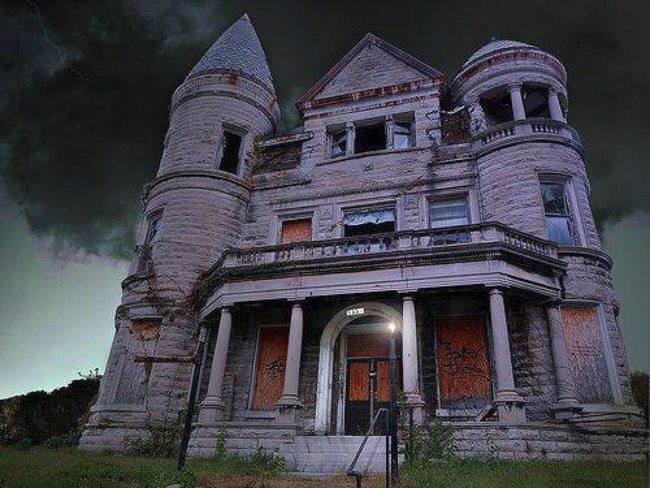 creepy mansion outside dark