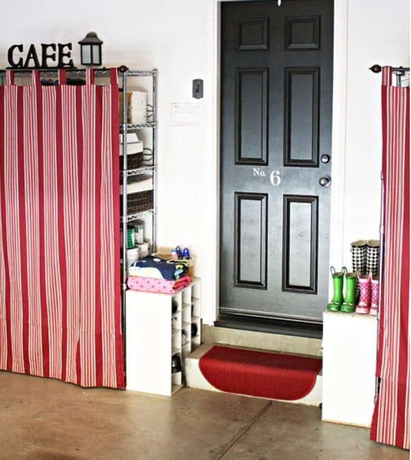 curtains over shelving unit