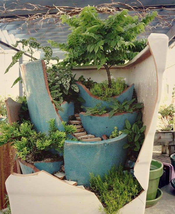 diy fairy garden blue cream