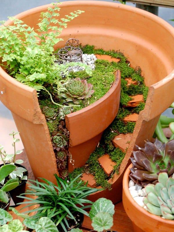 diy fairy garden moss steps