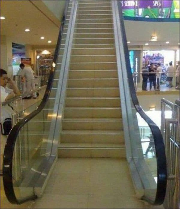 non moving steps that look like escalator