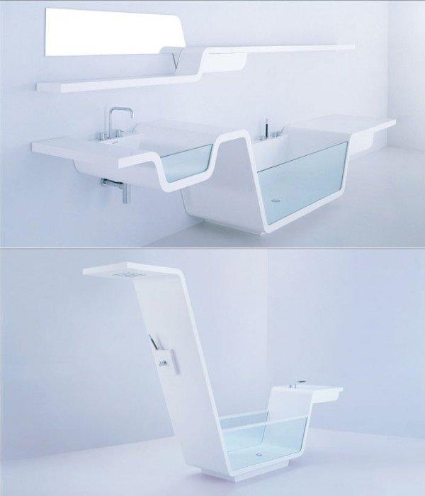 glass side sink