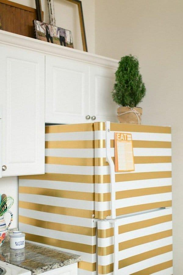 gold tape on fridge