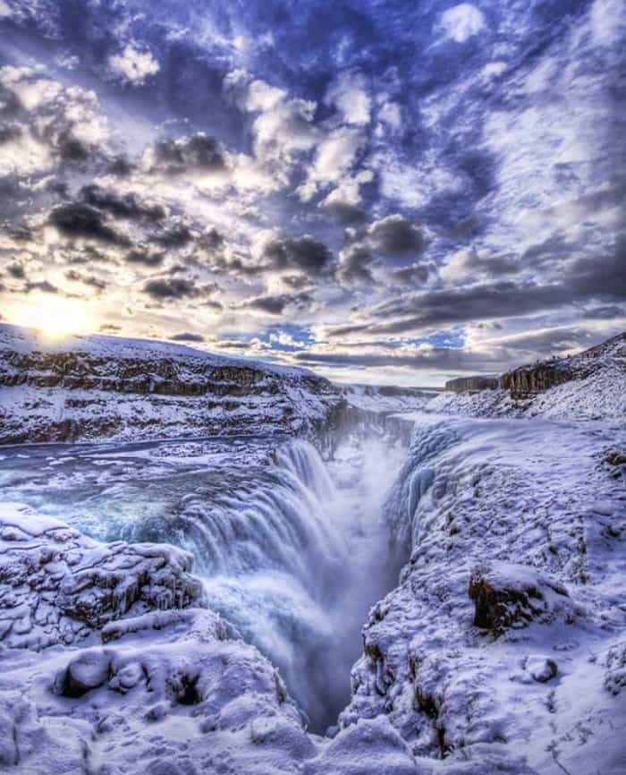golden falls, iceland icy