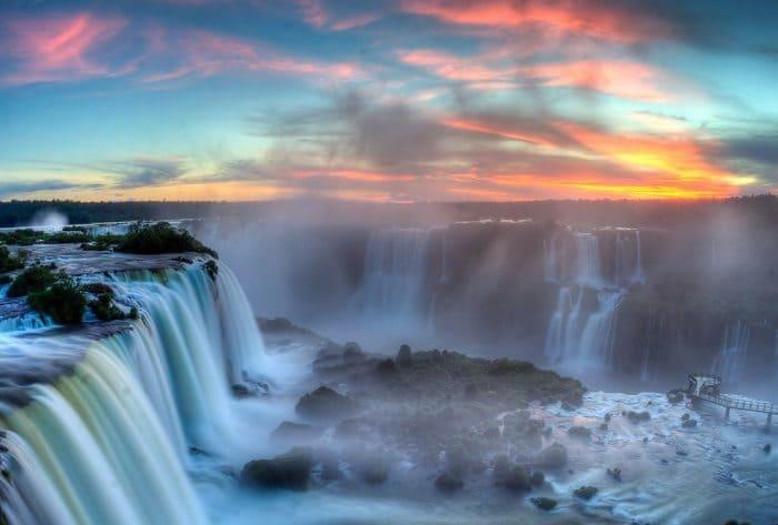 iguaza falls sunset