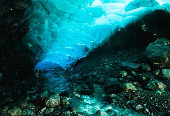 mendellhall glacier cave, alaska blue