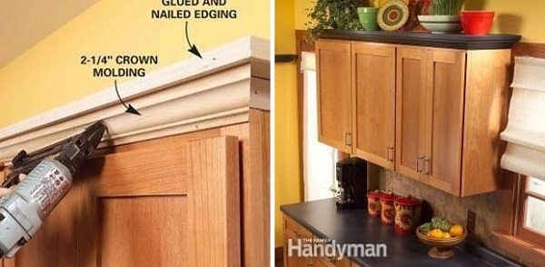 molding and shelving to kitchen cabinets