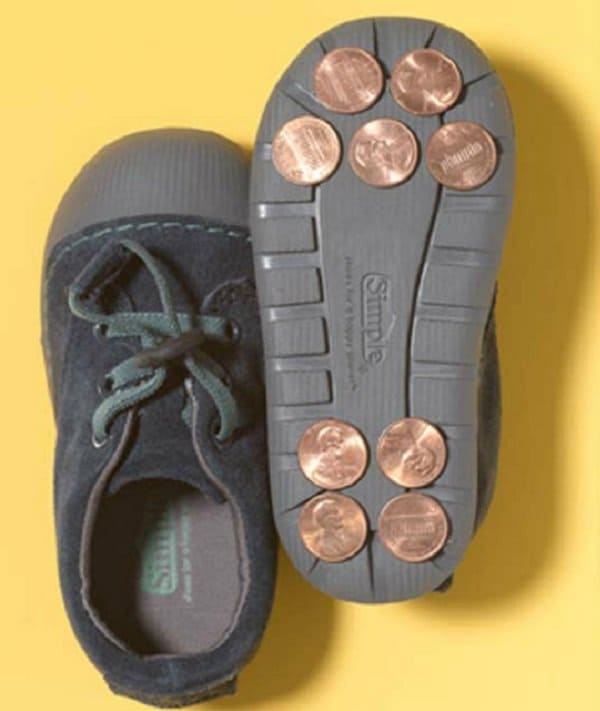 pennies as tap shoes